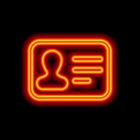 Identification card icon. ID profile. Orange neon style on black background. Light icon Ilustração