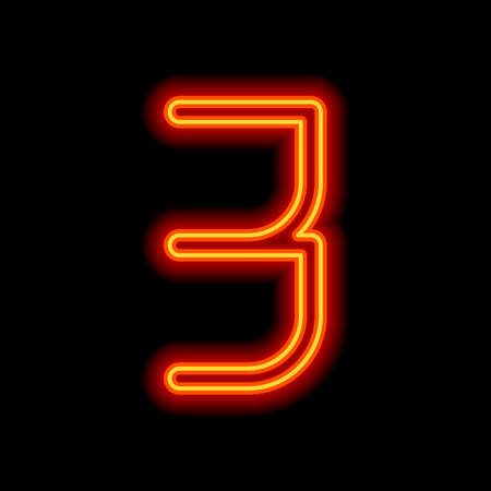 Number 3, numeral, three. Orange neon style on black background. Light icon