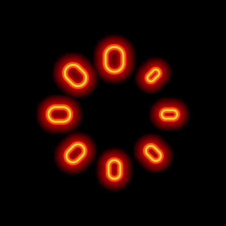 Simple loading symbol. Orange neon style on black background. Light icon
