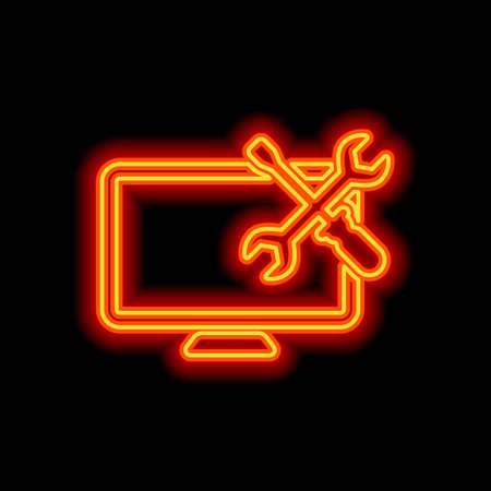Computer repair service. Orange neon style on black background. Light icon