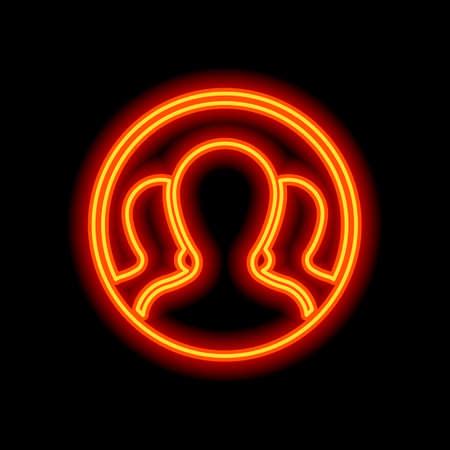 Team in circle, few person. Orange neon style on black background. Light icon