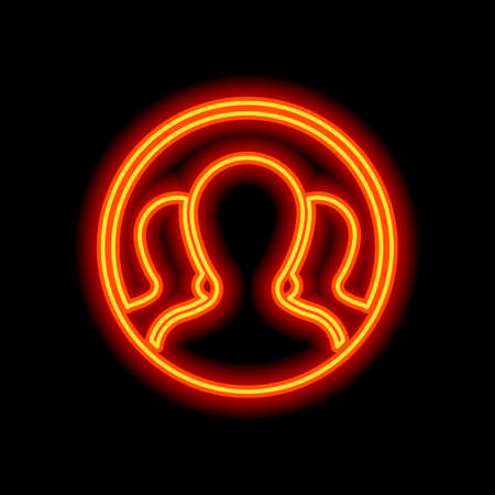Team in circle, few person. Orange neon style on black background. Light icon