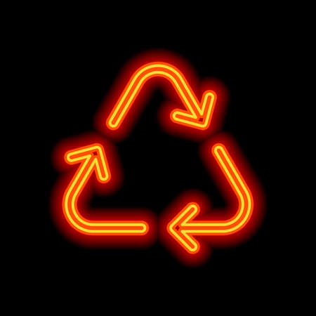 Recycle or reuse icon. Thin arrows, linear style. Orange neon style on black background. Light icon Illustration