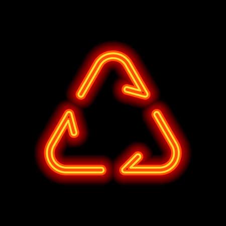 Symbol für Recycling oder Wiederverwendung. Dünne Pfeile, linearer Stil. Orange Neon-Stil auf schwarzem Hintergrund. Lichtsymbol