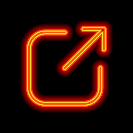 Share, logout or upload. Diagonal arrow out square. Orange neon style on black background. Light icon Illustration