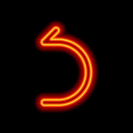 Simple arrow, backward. Linear, thin outline. Orange neon style on black background. Light icon