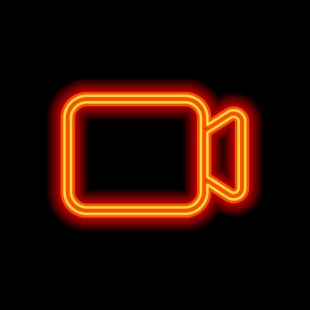 Video camera icon. Linear, thin outline. Orange neon style on black background. Light icon Illustration