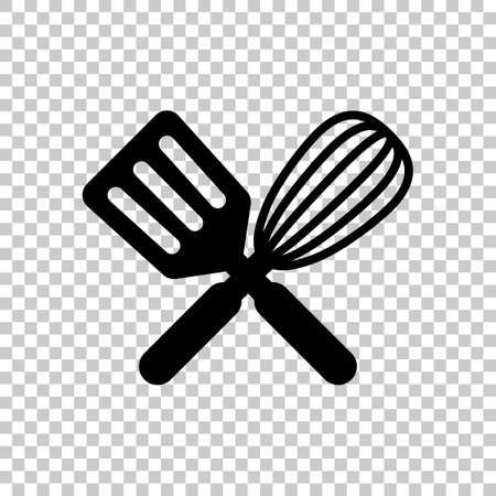 Küchenwerkzeug-Symbol. Schneebesen und Spatel, kreuzen und kreuzen. Auf transparentem Hintergrund.