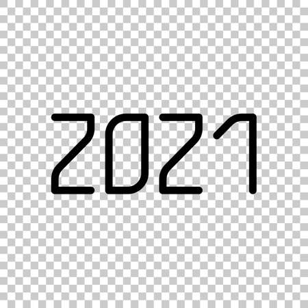 2021 number icon. Happy New Year. On transparent background.
