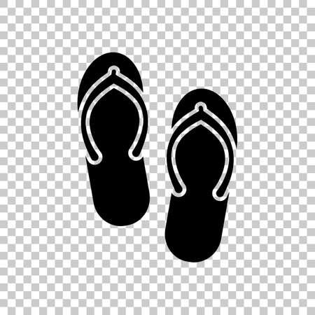 Beach slippers. Flip flops icon. On transparent background. Vetores
