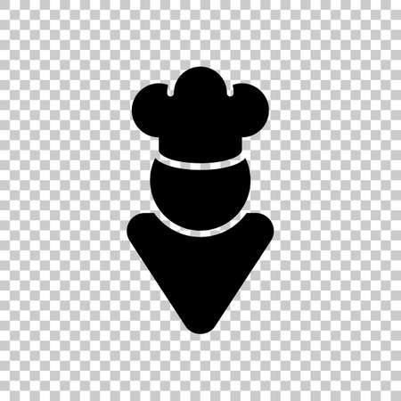 Chef of kitchen with hat. Kitchen logo, simple icon. On transparent background.