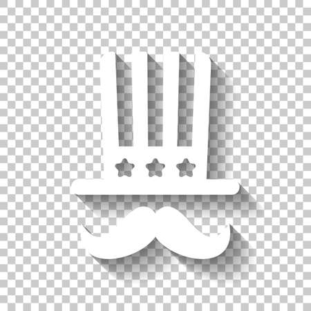 4 july, independence day. hat and mustache icon. White icon with shadow on transparent background