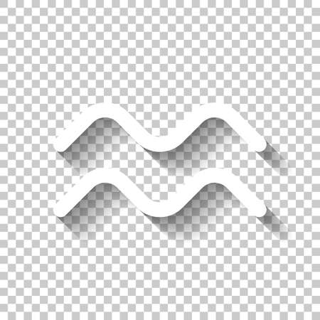 Astrological sign. Aquarius simple icon. White icon with shadow on transparent background