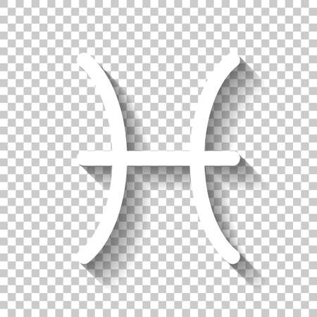 Astrological sign. Pisces simple icon. White icon with shadow on transparent background