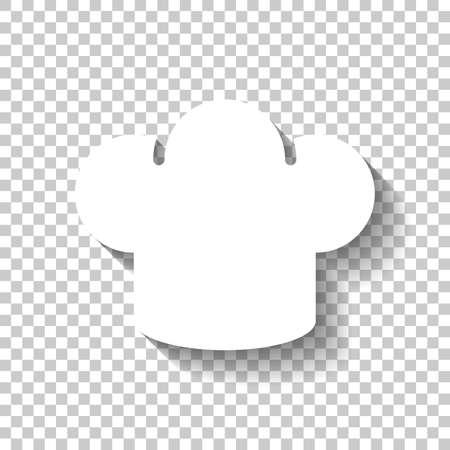 Icône de chapeau de chef simple. Logo de la cuisine. Icône blanche avec ombre sur fond transparent Logo