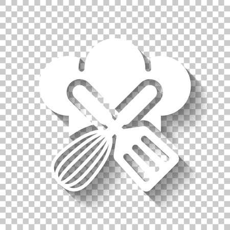 Chef-kok hoed en gereedschap. Keuken logo, eenvoudig pictogram. Wit pictogram met schaduw op transparante achtergrond