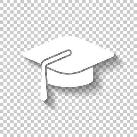 Gorro de graduación. Icono de educación. Icono blanco con sombra sobre fondo transparente Ilustración de vector