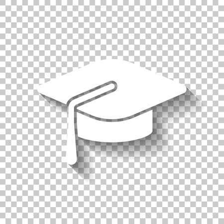 Graduation cap. Education icon. White icon with shadow on transparent background Illustration
