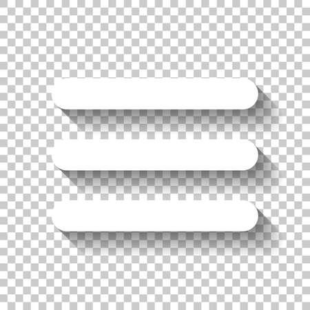 Hamburger menu. Web icoon. Wit pictogram met schaduw op transparante achtergrond