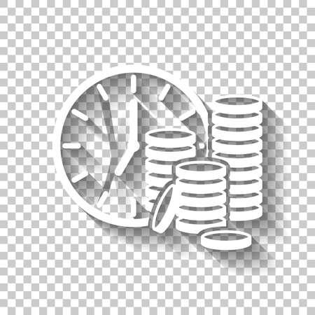 El tiempo es dinero. Pila de reloj y moneda. Icono de finanzas. Icono blanco con sombra sobre fondo transparente