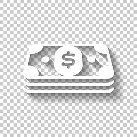 Pack of dollar money or vouchers. Business icon. White icon with shadow on transparent background Vectores
