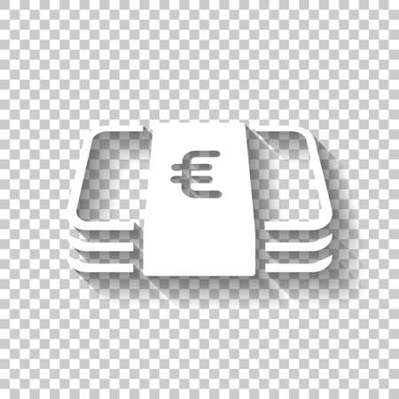 Pack of euro money or vouchers. Business icon. White icon with shadow on transparent background
