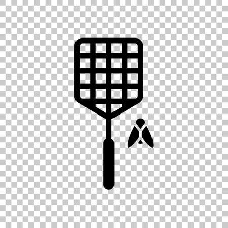 Fly swatter and insect. Simple icon. On transparent background.  イラスト・ベクター素材