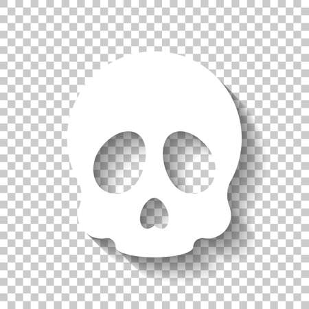 Simple skull icon. White icon with shadow on transparent background