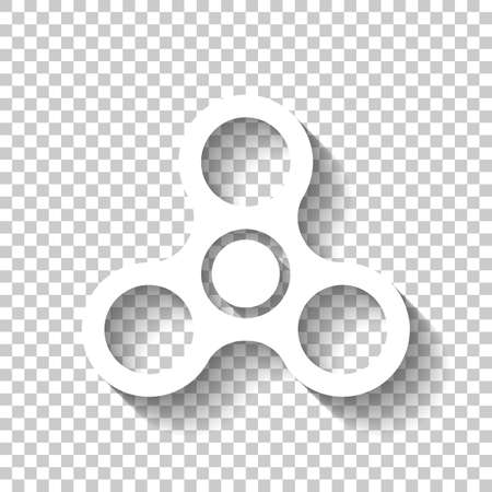 Spinner icon. Toy for stress relief. White icon with shadow on transparent background