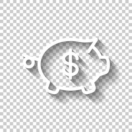 Piggy bank with dollar symbol. Business icon. White icon with shadow on transparent background