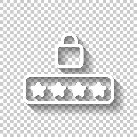 Pin code and lock. Simple icon. White icon with shadow on transparent background