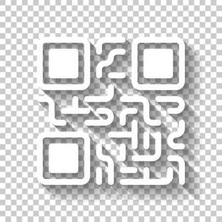 QR code. Technology icon. White icon with shadow on transparent background Illustration