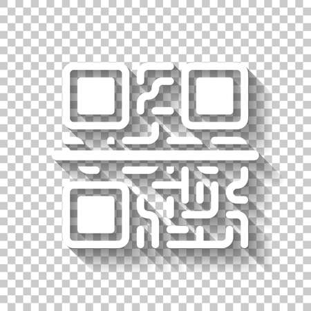 Scanning QR code. Technology icon. White icon with shadow on transparent background
