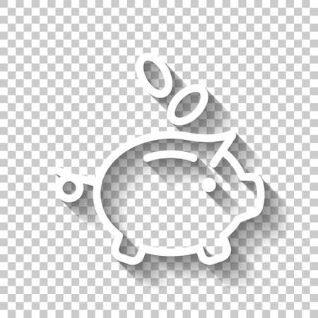 Piggy bank, dollar coins. Business icon. White icon with shadow on transparent background