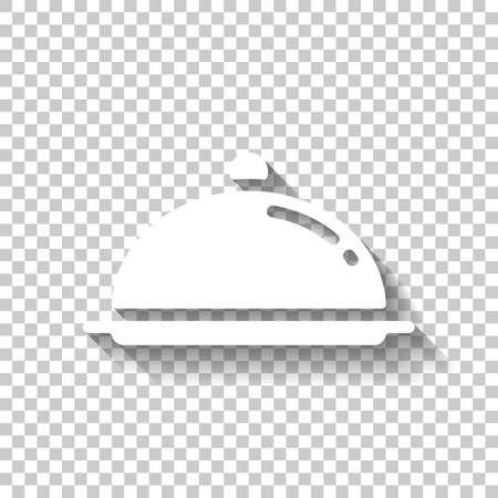 Restaurant cloche or tray. Restaurant icon. White icon with shadow on transparent background Ilustração Vetorial