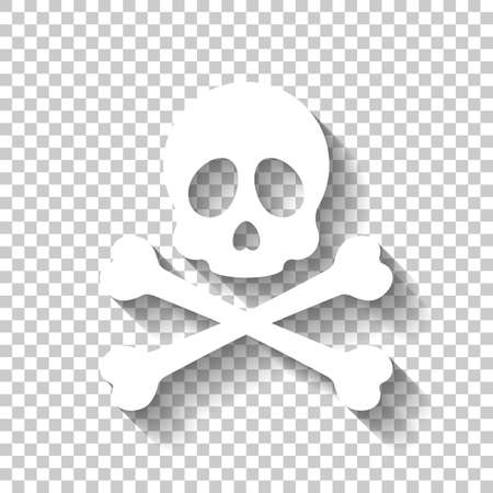 Skull and crossed bones. Simple icon. White icon with shadow on transparent background Ilustrace