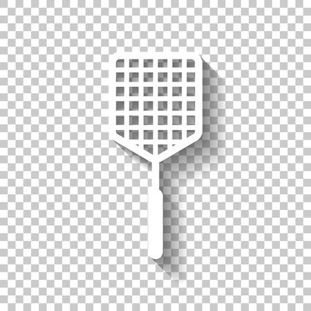 Fly swatter icon. White icon with shadow on transparent background