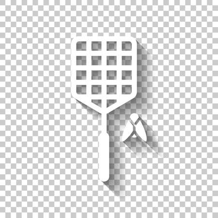 Fly swatter and insect. Simple icon. White icon with shadow on transparent background