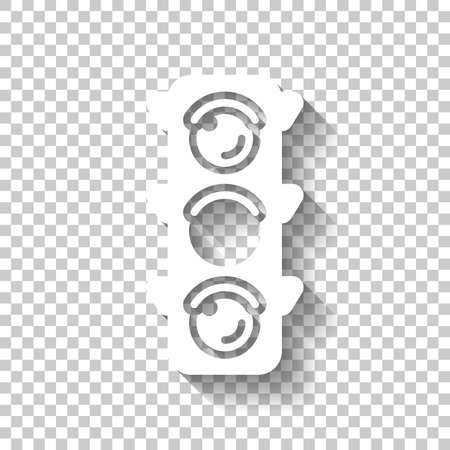 Traffic light icon. Sign of wait, yellow or ready. White icon with shadow on transparent background Иллюстрация