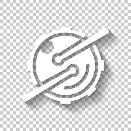 Logo for music app. Drum with drumsticks and camera. Simple icon. White icon with shadow on transparent background Illustration