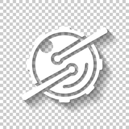 Logo per app musicale. Tamburo con bacchette e fotocamera. Icona semplice. Icona bianca con ombra su sfondo trasparente Logo