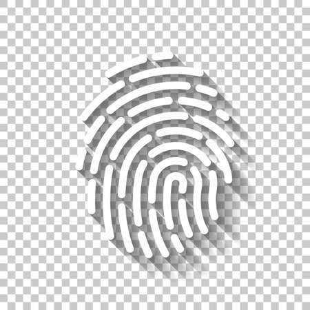 Fingerprint. Simple icon for logo or app. White icon with shadow on transparent background