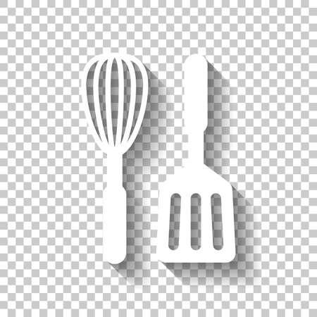 Küchenwerkzeug-Symbol. Schneebesen und Spatel. Weißes Symbol mit Schatten auf transparentem Hintergrund