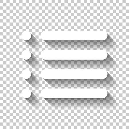 Simple list menu icon. White icon with shadow on transparent background Stock Illustratie