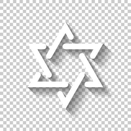 Star of david, simple icon. White icon with shadow on transparent background