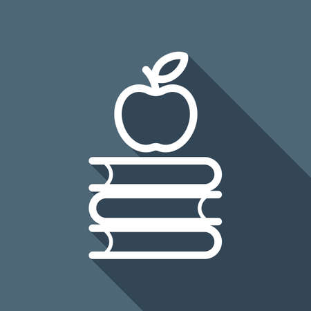 Apple on books icon. Knowledge logo. White flat icon with long shadow on background Illustration