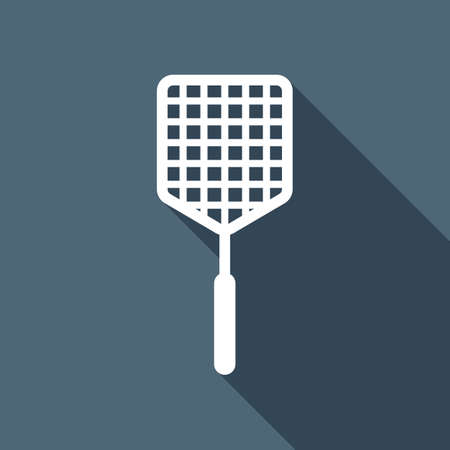 Fly swatter icon. White flat icon with long shadow on background