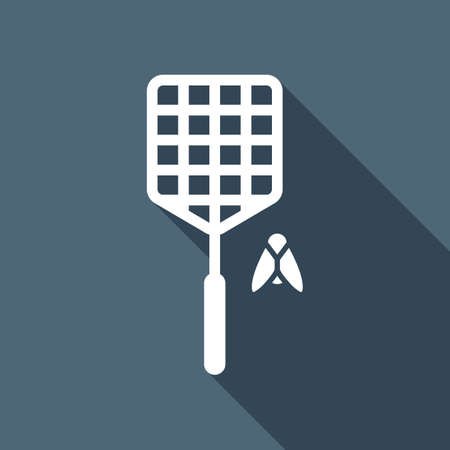 Fly swatter and insect. Simple icon. White flat icon with long shadow on background