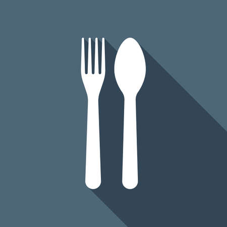 Fork and spoon, icon. Kitchen tools. White flat icon with long shadow on background 写真素材 - 109972149