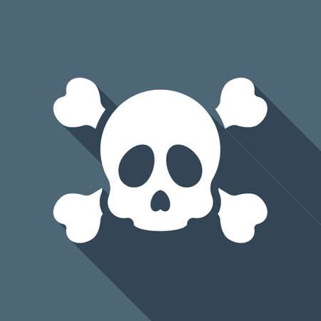 Skull and crossed bones. Simple icon. White flat icon with long shadow on background